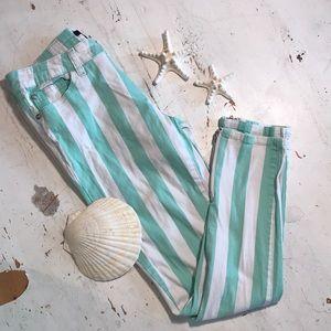 FOREVER 21 Green/Wh. Stripe Straight Leg Pants🐚